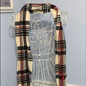 Polo Ralph Lauren Red Plaid 100% Lambswool Scarf made in Italy